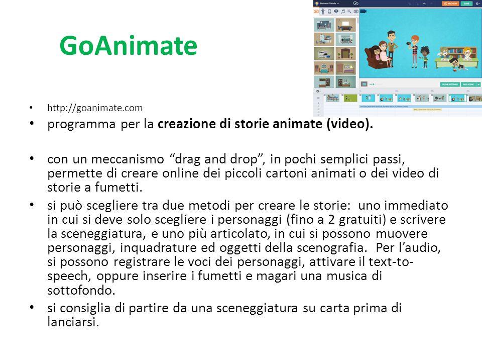 """GoAnimate http://goanimate.com programma per la creazione di storie animate (video). con un meccanismo """"drag and drop"""", in pochi semplici passi, perme"""
