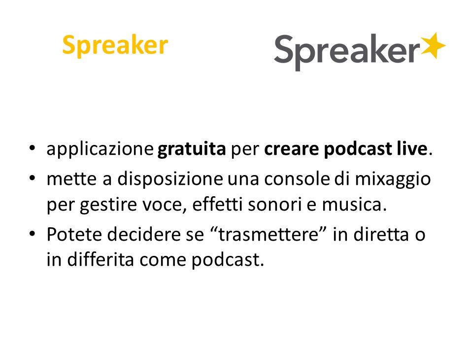 Spreaker applicazione gratuita per creare podcast live. mette a disposizione una console di mixaggio per gestire voce, effetti sonori e musica. Potete