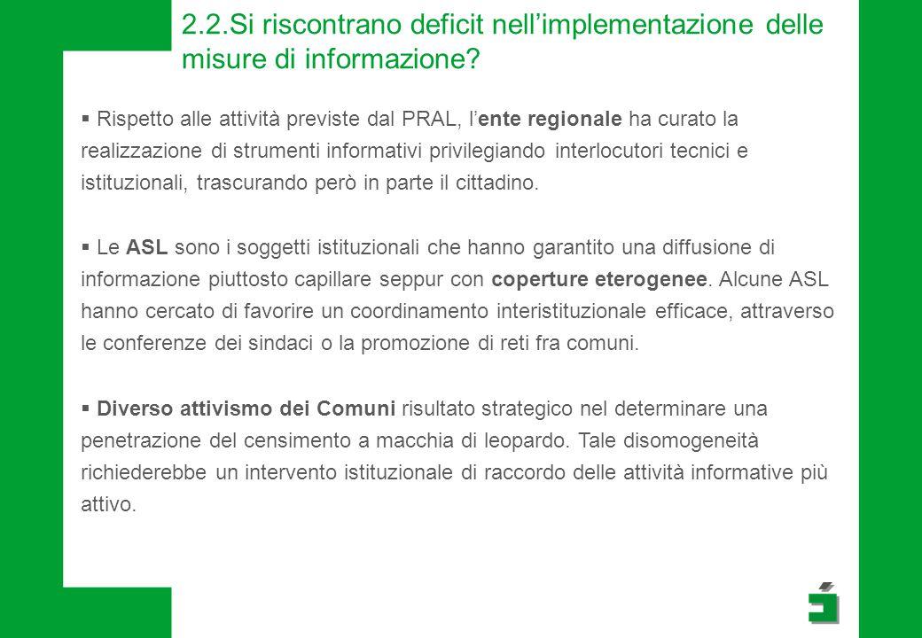 2.2.Si riscontrano deficit nell'implementazione delle misure di informazione?  Rispetto alle attività previste dal PRAL, l'ente regionale ha curato l