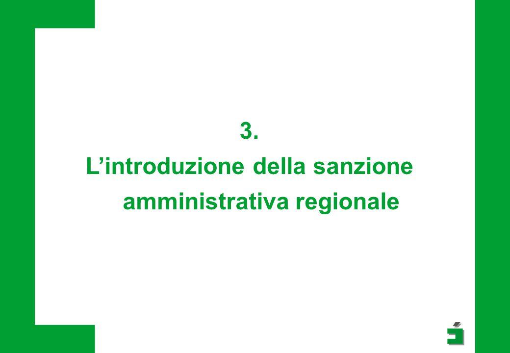 3. L'introduzione della sanzione amministrativa regionale