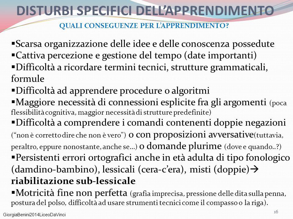 GiorgiaBenini2014LiceoDaVinci  Scarsa organizzazione delle idee e delle conoscenza possedute  Cattiva percezione e gestione del tempo (date importan