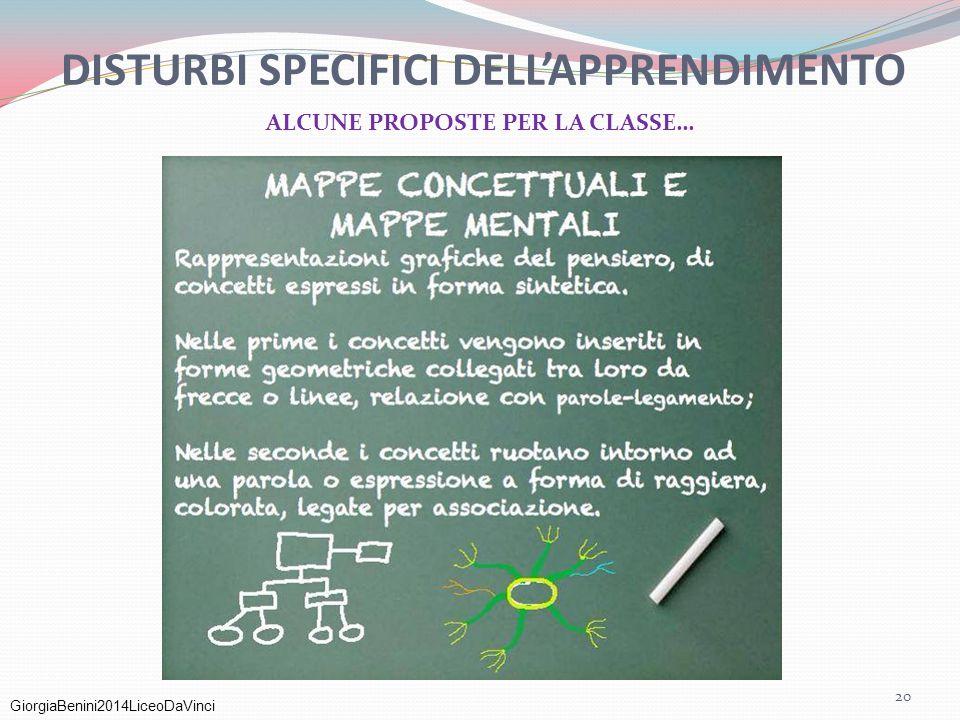 GiorgiaBenini2014LiceoDaVinci DISTURBI SPECIFICI DELL'APPRENDIMENTO ALCUNE PROPOSTE PER LA CLASSE… 20