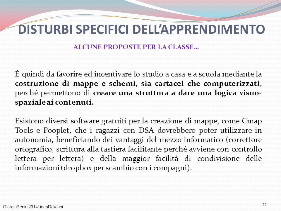 GiorgiaBenini2014LiceoDaVinci DISTURBI SPECIFICI DELL'APPRENDIMENTO ALCUNE PROPOSTE PER LA CLASSE… È quindi da favorire ed incentivare lo studio a cas