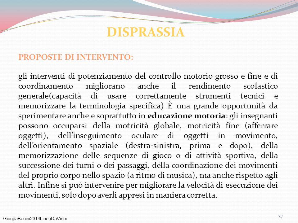 GiorgiaBenini2014LiceoDaVinci 37 PROPOSTE DI INTERVENTO: gli interventi di potenziamento del controllo motorio grosso e fine e di coordinamento miglio
