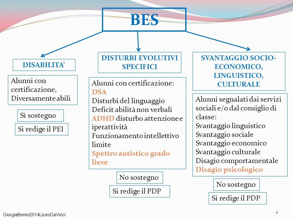 GiorgiaBenini2014LiceoDaVinci BES DISABILITA' DISTURBI EVOLUTIVI SPECIFICI SVANTAGGIO SOCIO- ECONOMICO, LINGUISTICO, CULTURALE Alunni con certificazio