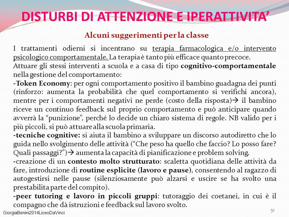GiorgiaBenini2014LiceoDaVinci DISTURBI DI ATTENZIONE E IPERATTIVITA' Alcuni suggerimenti per la classe I trattamenti odierni si incentrano su terapia