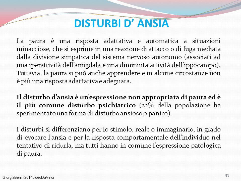GiorgiaBenini2014LiceoDaVinci DISTURBI D' ANSIA La paura è una risposta adattativa e automatica a situazioni minacciose, che si esprime in una reazion