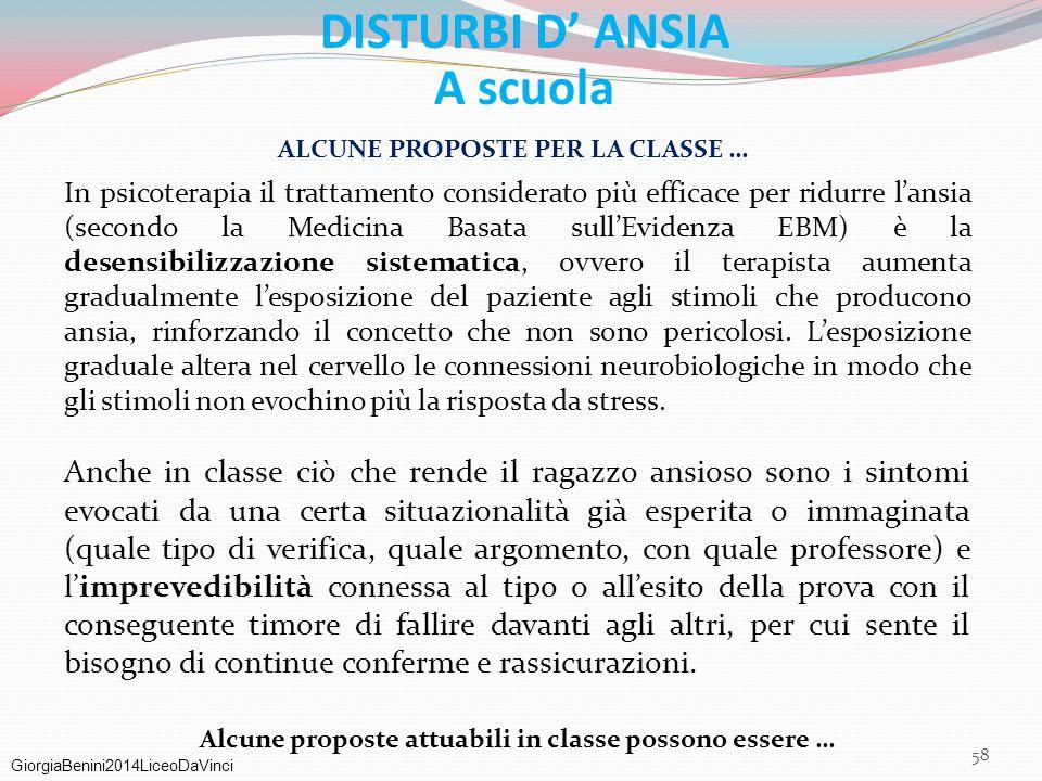 GiorgiaBenini2014LiceoDaVinci DISTURBI D' ANSIA A scuola ALCUNE PROPOSTE PER LA CLASSE … In psicoterapia il trattamento considerato più efficace per r