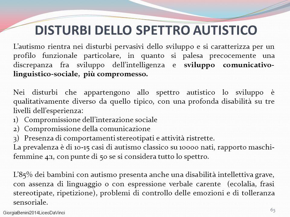 GiorgiaBenini2014LiceoDaVinci DISTURBI DELLO SPETTRO AUTISTICO 65 L'autismo rientra nei disturbi pervasivi dello sviluppo e si caratterizza per un pro