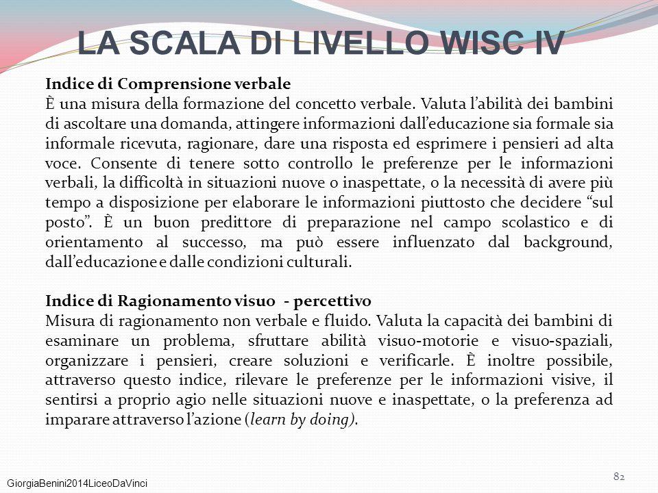 GiorgiaBenini2014LiceoDaVinci 82 LA SCALA DI LIVELLO WISC IV Indice di Comprensione verbale È una misura della formazione del concetto verbale. Valuta
