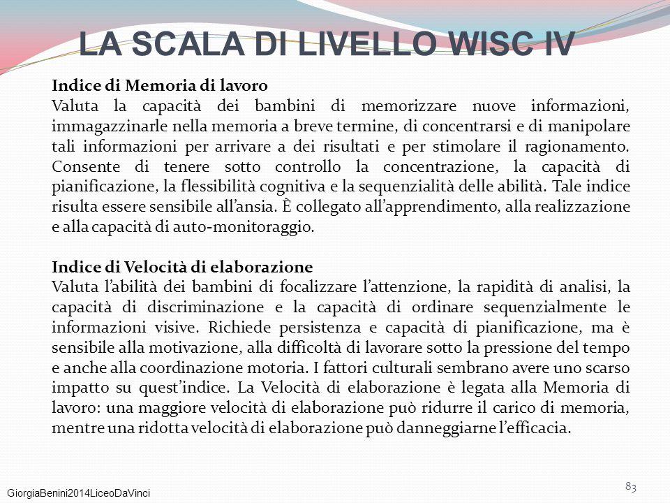 GiorgiaBenini2014LiceoDaVinci 83 Indice di Memoria di lavoro Valuta la capacità dei bambini di memorizzare nuove informazioni, immagazzinarle nella me