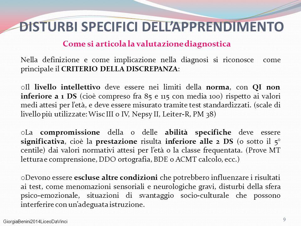 GiorgiaBenini2014LiceoDaVinci DISTURBI SPECIFICI DELL'APPRENDIMENTO Nella definizione e come implicazione nella diagnosi si riconosce come principale
