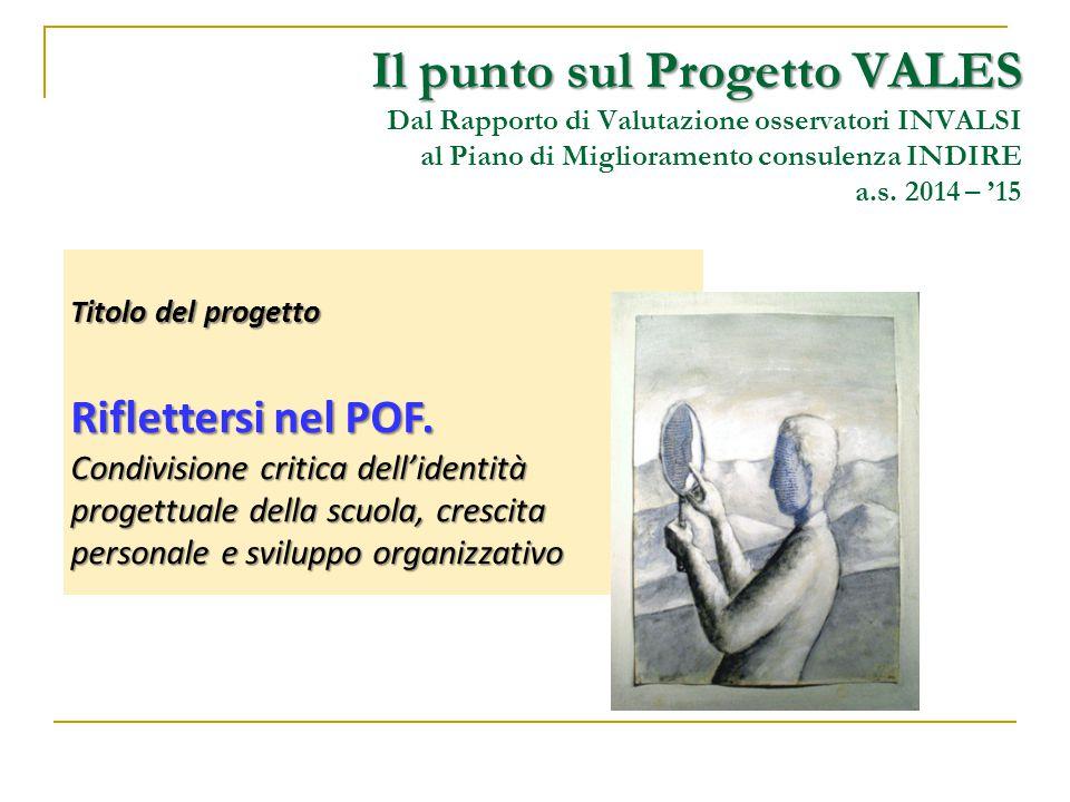 Il punto sul Progetto VALES Il punto sul Progetto VALES Dal Rapporto di Valutazione osservatori INVALSI al Piano di Miglioramento consulenza INDIRE a.