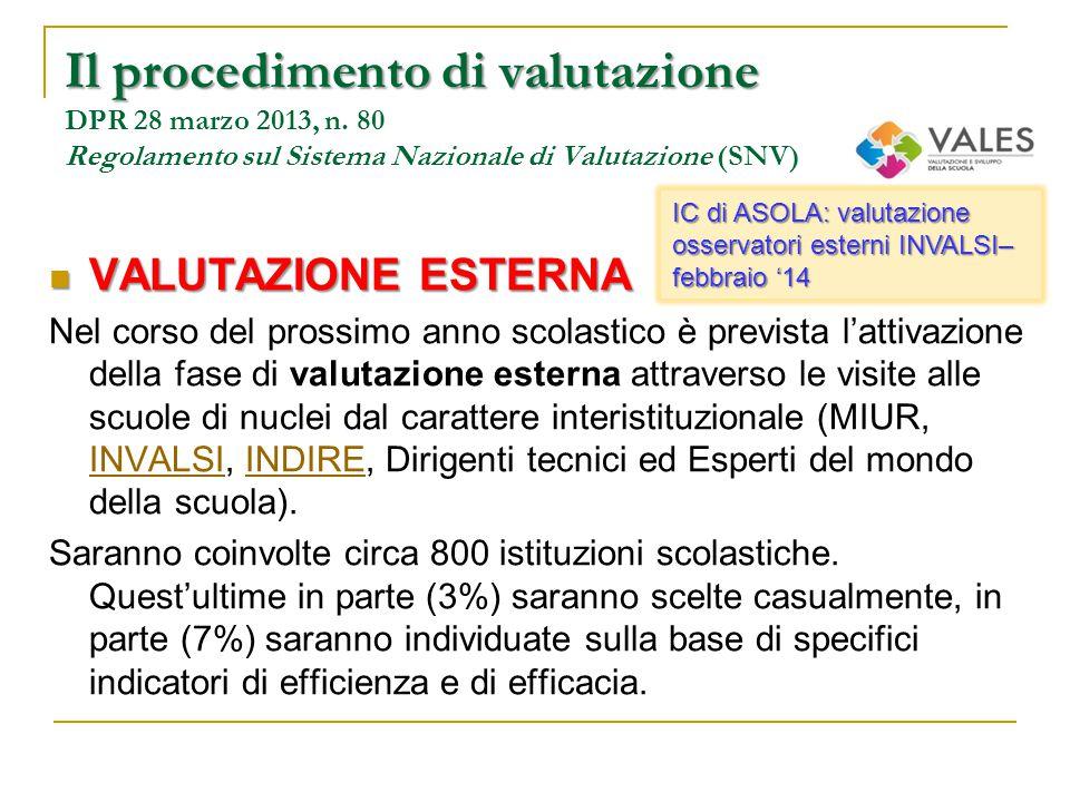 VALUTAZIONE ESTERNA VALUTAZIONE ESTERNA Nel corso del prossimo anno scolastico è prevista l'attivazione della fase di valutazione esterna attraverso l