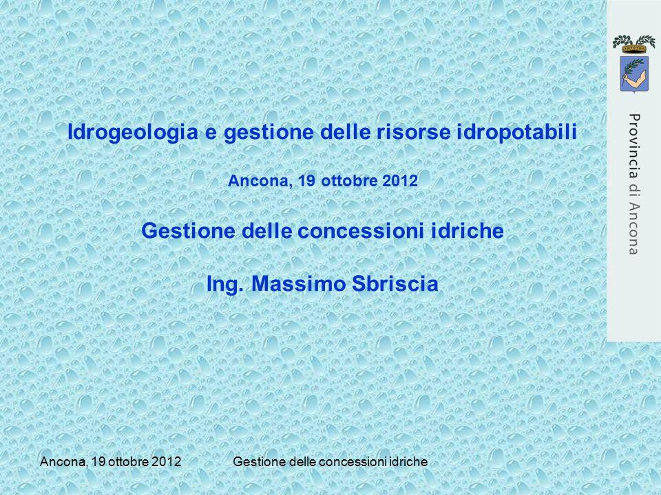 Ancona, 19 ottobre 2012Gestione delle concessioni idriche Idrogeologia e gestione delle risorse idropotabili Ancona, 19 ottobre 2012 Gestione delle co