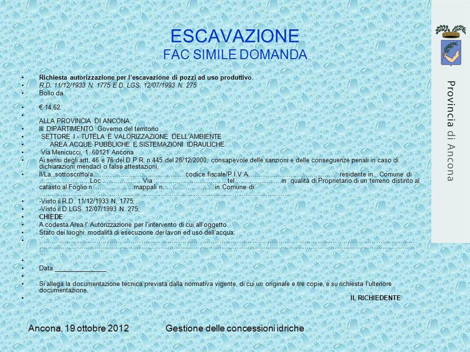 Ancona, 19 ottobre 2012Gestione delle concessioni idriche ESCAVAZIONE FAC SIMILE DOMANDA Richiesta autorizzazione per l'escavazione di pozzi ad uso pr