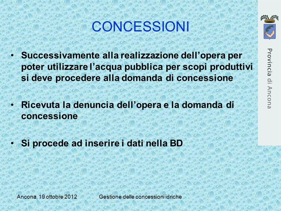 Ancona, 19 ottobre 2012Gestione delle concessioni idriche CONCESSIONI Successivamente alla realizzazione dell'opera per poter utilizzare l'acqua pubbl