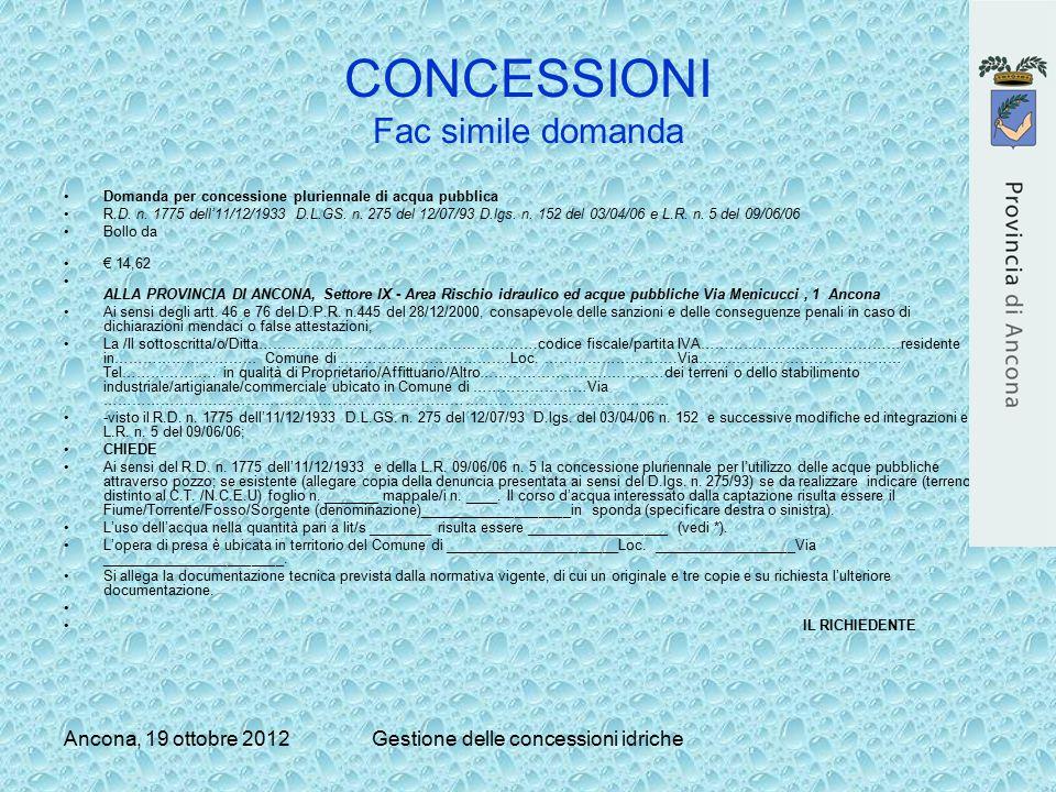 Ancona, 19 ottobre 2012Gestione delle concessioni idriche CONCESSIONI Fac simile domanda Domanda per concessione pluriennale di acqua pubblica R.D. n.
