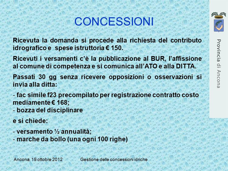 Ancona, 19 ottobre 2012Gestione delle concessioni idriche CONCESSIONI Ricevuta la domanda si procede alla richiesta del contributo idrografico e spese