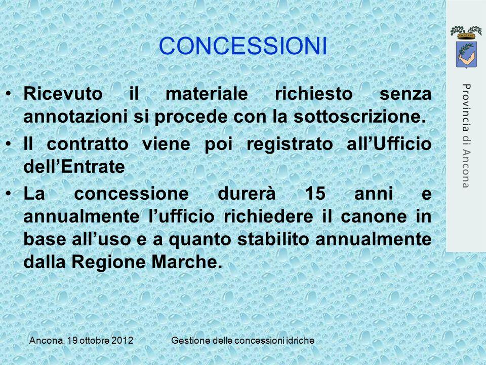 Ancona, 19 ottobre 2012Gestione delle concessioni idriche CONCESSIONI Ricevuto il materiale richiesto senza annotazioni si procede con la sottoscrizio