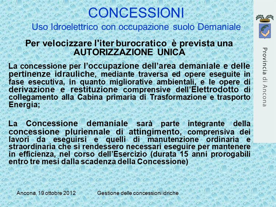 Ancona, 19 ottobre 2012Gestione delle concessioni idriche CONCESSIONI Uso Idroelettrico con occupazione suolo Demaniale Per velocizzare l'iter burocra