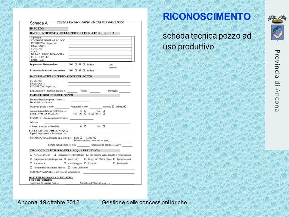 Ancona, 19 ottobre 2012Gestione delle concessioni idriche RICONOSCIMENTO scheda tecnica pozzo ad uso produttivo