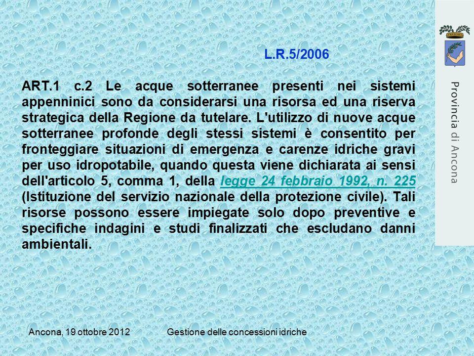 Ancona, 19 ottobre 2012Gestione delle concessioni idriche L.R.5/2006 ART.1 c.2 Le acque sotterranee presenti nei sistemi appenninici sono da considera