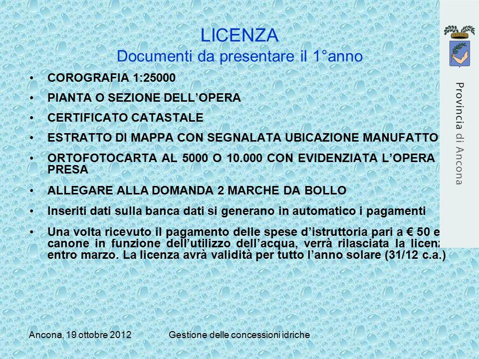 Ancona, 19 ottobre 2012Gestione delle concessioni idriche LICENZA Documenti da presentare il 1°anno COROGRAFIA 1:25000 PIANTA O SEZIONE DELL'OPERA CER