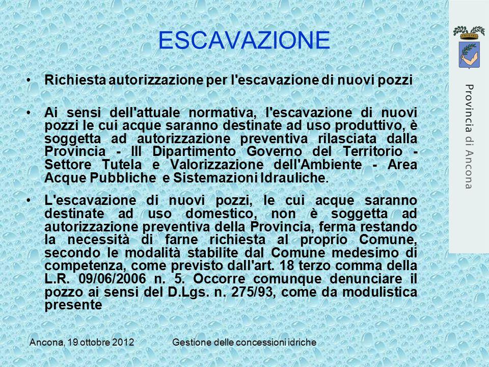 Ancona, 19 ottobre 2012Gestione delle concessioni idriche ESCAVAZIONE Richiesta autorizzazione per l'escavazione di nuovi pozzi Ai sensi dell'attuale