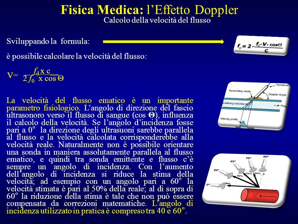Sviluppando la formula: è possibile calcolare la velocità del flusso: __f d x c__ 2 f 0 x cos Θ La velocità del flusso ematico è un importante paramet