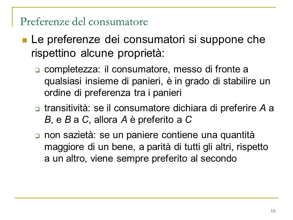10 Preferenze del consumatore Le preferenze dei consumatori si suppone che rispettino alcune proprietà:  completezza: il consumatore, messo di fronte