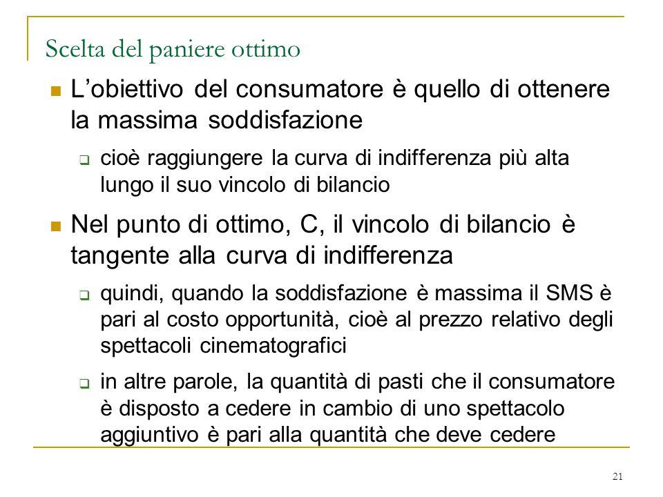 21 Scelta del paniere ottimo L'obiettivo del consumatore è quello di ottenere la massima soddisfazione  cioè raggiungere la curva di indifferenza più