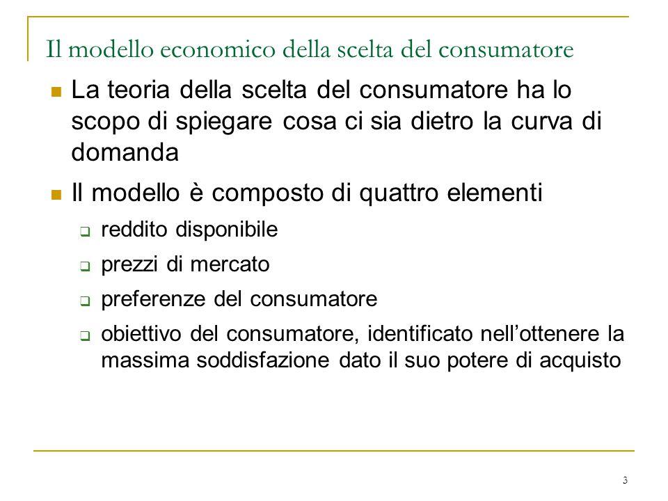 3 Il modello economico della scelta del consumatore La teoria della scelta del consumatore ha lo scopo di spiegare cosa ci sia dietro la curva di doma