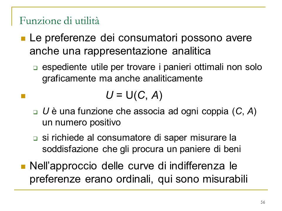56 Funzione di utilità Le preferenze dei consumatori possono avere anche una rappresentazione analitica  espediente utile per trovare i panieri ottim