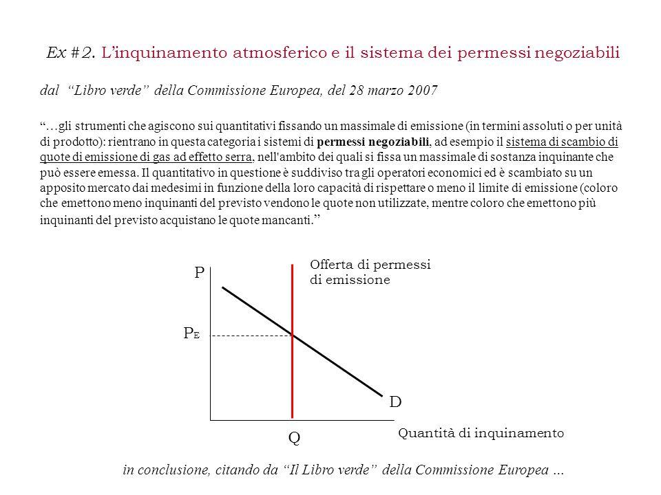 """Ex #2. L'inquinamento atmosferico e il sistema dei permessi negoziabili dal """"Libro verde"""" della Commissione Europea, del 28 marzo 2007 """"…gli strumenti"""