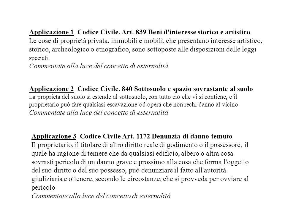 Applicazione 1 Codice Civile. Art. 839 Beni d'interesse storico e artistico Le cose di proprietà privata, immobili e mobili, che presentano interesse