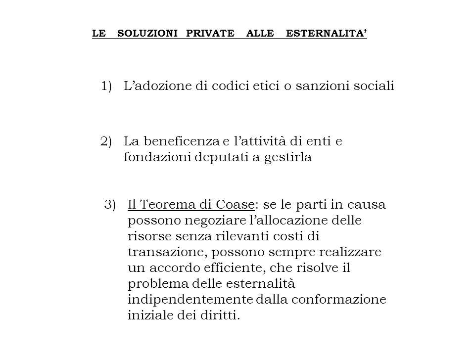 LE SOLUZIONI PRIVATE ALLE ESTERNALITA' 1)L'adozione di codici etici o sanzioni sociali 2)La beneficenza e l'attività di enti e fondazioni deputati a g