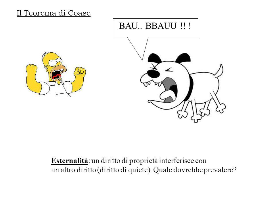Il Teorema di Coase BAU.. BBAUU !! ! Esternalità: un diritto di proprietà interferisce con un altro diritto (diritto di quiete). Quale dovrebbe preval