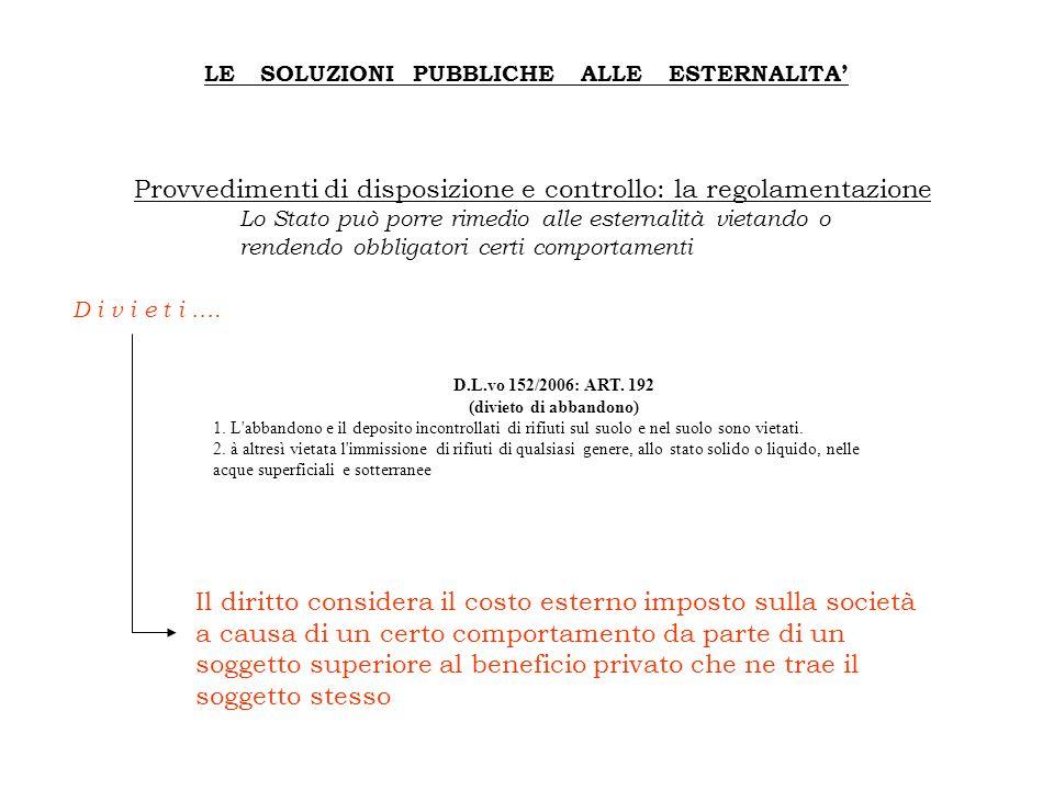 LE SOLUZIONI PUBBLICHE ALLE ESTERNALITA' D.L.vo 152/2006: ART. 192 (divieto di abbandono) 1. L'abbandono e il deposito incontrollati di rifiuti sul su