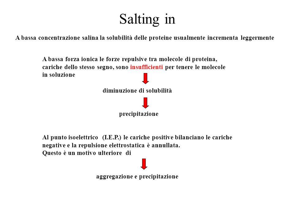 Effetto dei solventi organici I solventi organici miscibili con l'acqua, come l'acetone e l'etanolo, precipitano le proteine in quanto abbassano la costante dielettrica del solvente, riducendone il potere di dissolvere ioni come le proteine.