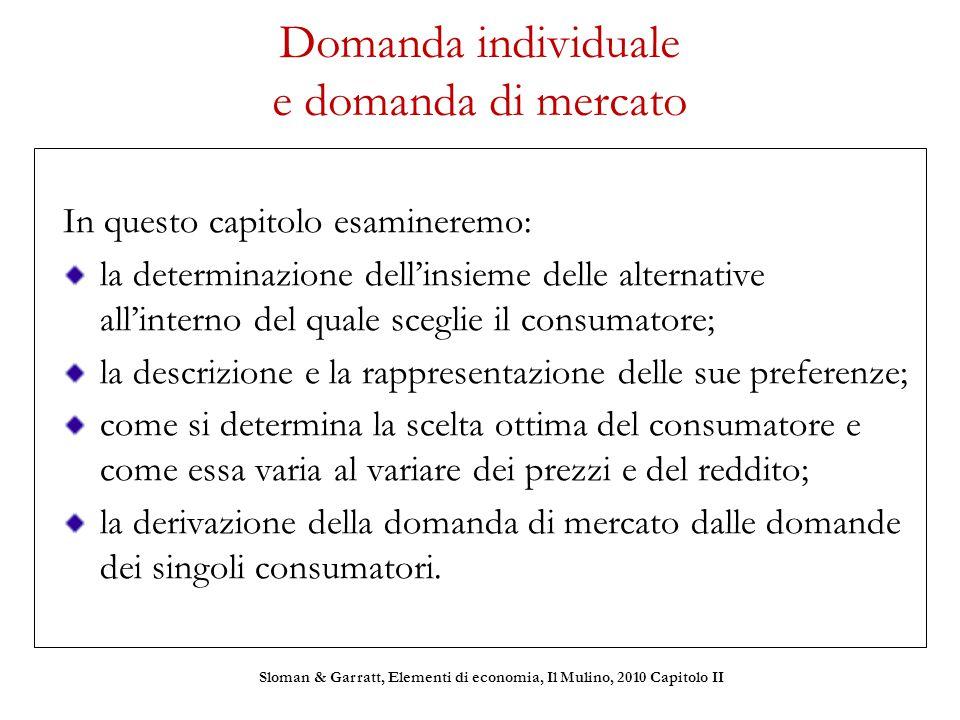 Domanda individuale e domanda di mercato In questo capitolo esamineremo: la determinazione dell'insieme delle alternative all'interno del quale scegli