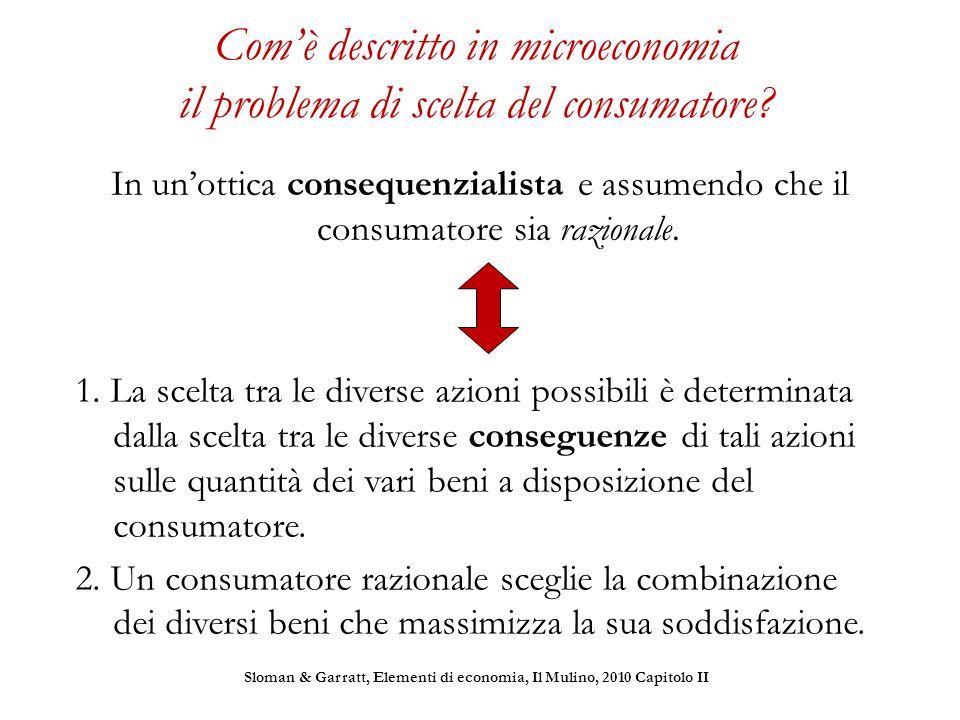 Com'è descritto in microeconomia il problema di scelta del consumatore? In un'ottica consequenzialista e assumendo che il consumatore sia razionale. 1