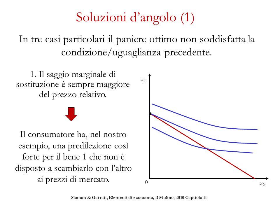 Soluzioni d'angolo (1) In tre casi particolari il paniere ottimo non soddisfatta la condizione/uguaglianza precedente. 1. Il saggio marginale di sosti