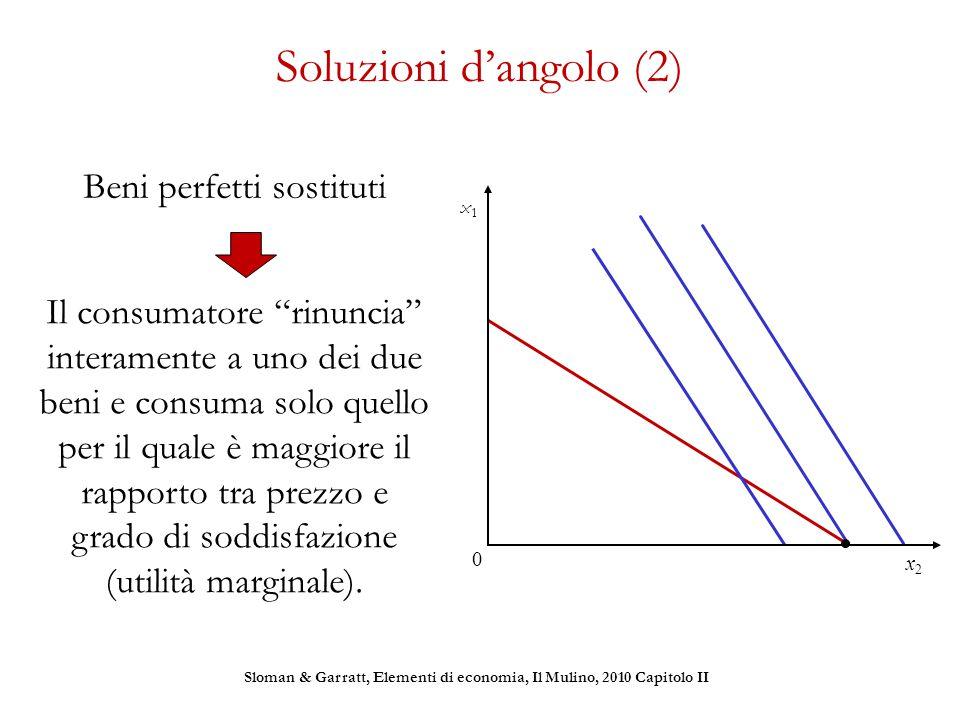 """Soluzioni d'angolo (2) Beni perfetti sostituti Il consumatore """"rinuncia"""" interamente a uno dei due beni e consuma solo quello per il quale è maggiore"""
