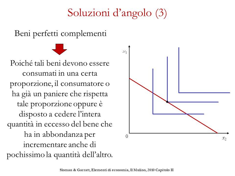Soluzioni d'angolo (3) Beni perfetti complementi x1x1 x2x2 0 Poiché tali beni devono essere consumati in una certa proporzione, il consumatore o ha gi