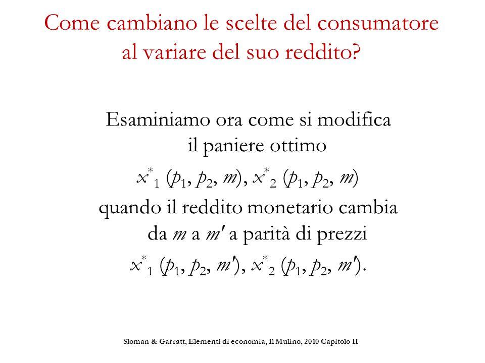 Come cambiano le scelte del consumatore al variare del suo reddito? Esaminiamo ora come si modifica il paniere ottimo x * 1 (p 1, p 2, m), x * 2 (p 1,