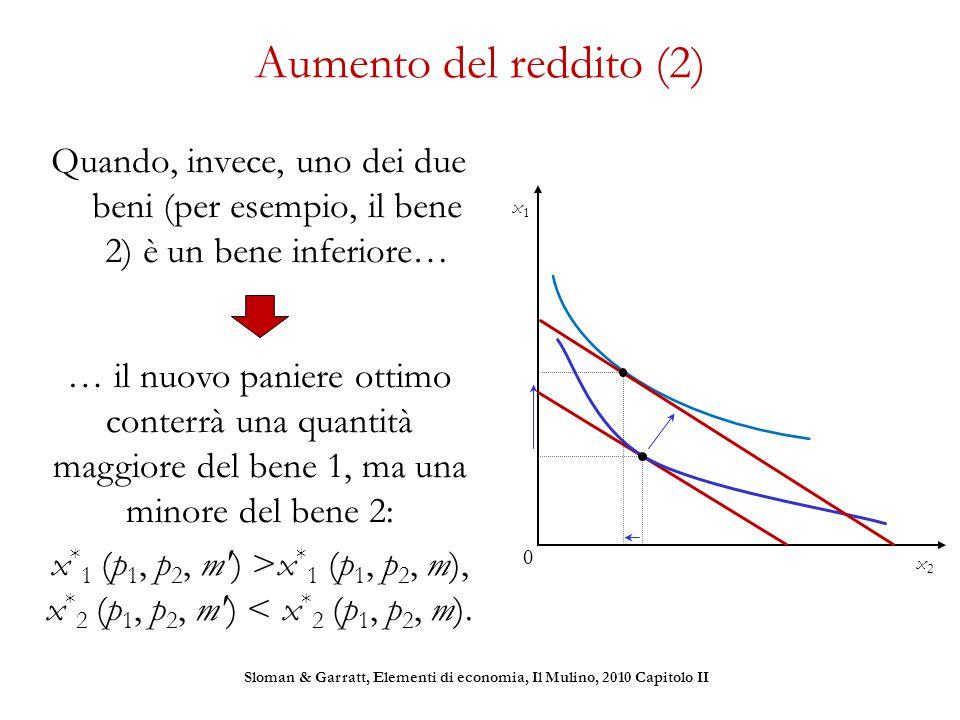 Aumento del reddito (2) Quando, invece, uno dei due beni (per esempio, il bene 2) è un bene inferiore… x1x1 x2x2 0 … il nuovo paniere ottimo conterrà