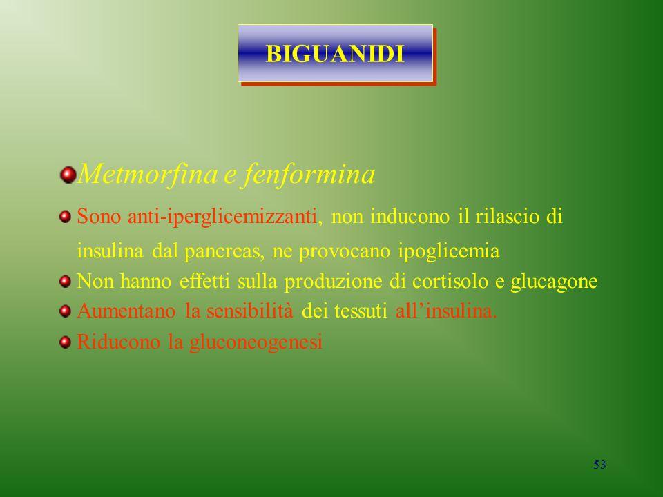 53 BIGUANIDI Metmorfina e fenformina Sono anti-iperglicemizzanti, non inducono il rilascio di insulina dal pancreas, ne provocano ipoglicemia Non hann