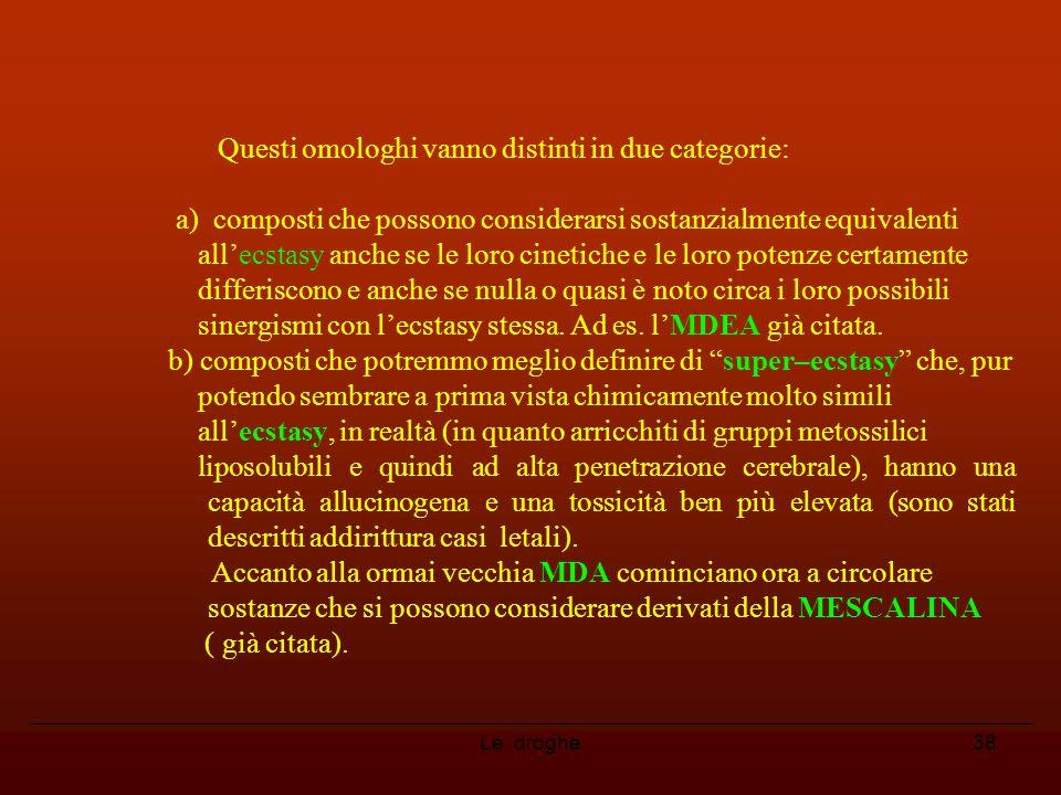 Le droghe38 Questi omologhi vanno distinti in due categorie: a) composti che possono considerarsi sostanzialmente equivalenti all'ecstasy anche se le
