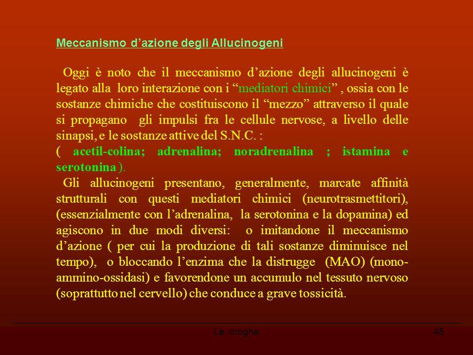 """45 Meccanismo d'azione degli Allucinogeni Oggi è noto che il meccanismo d'azione degli allucinogeni è legato alla loro interazione con i """"mediatori ch"""